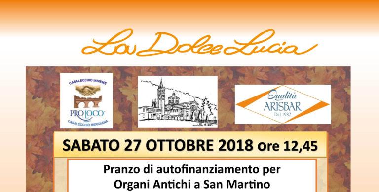 Pranzo di autofinanziamento per Organi Antichi a San Martino