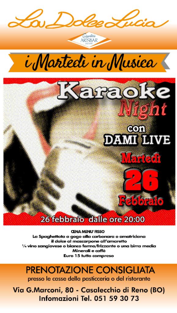 karaoke a la dolce lucia 26 febbraio volantino